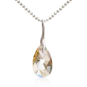 Halssmykke med Facet Drop Swarovski krystaller i Crystal Golden Shadow