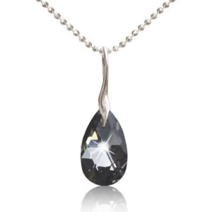 Halssmykke med Facet Drop Swarovski krystaller i Crystal Silver Night
